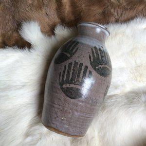 Clay Handmade Bear Paw Print Vase
